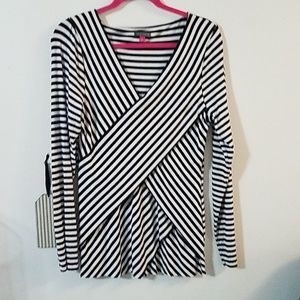 Vince Camuto black and white striped top
